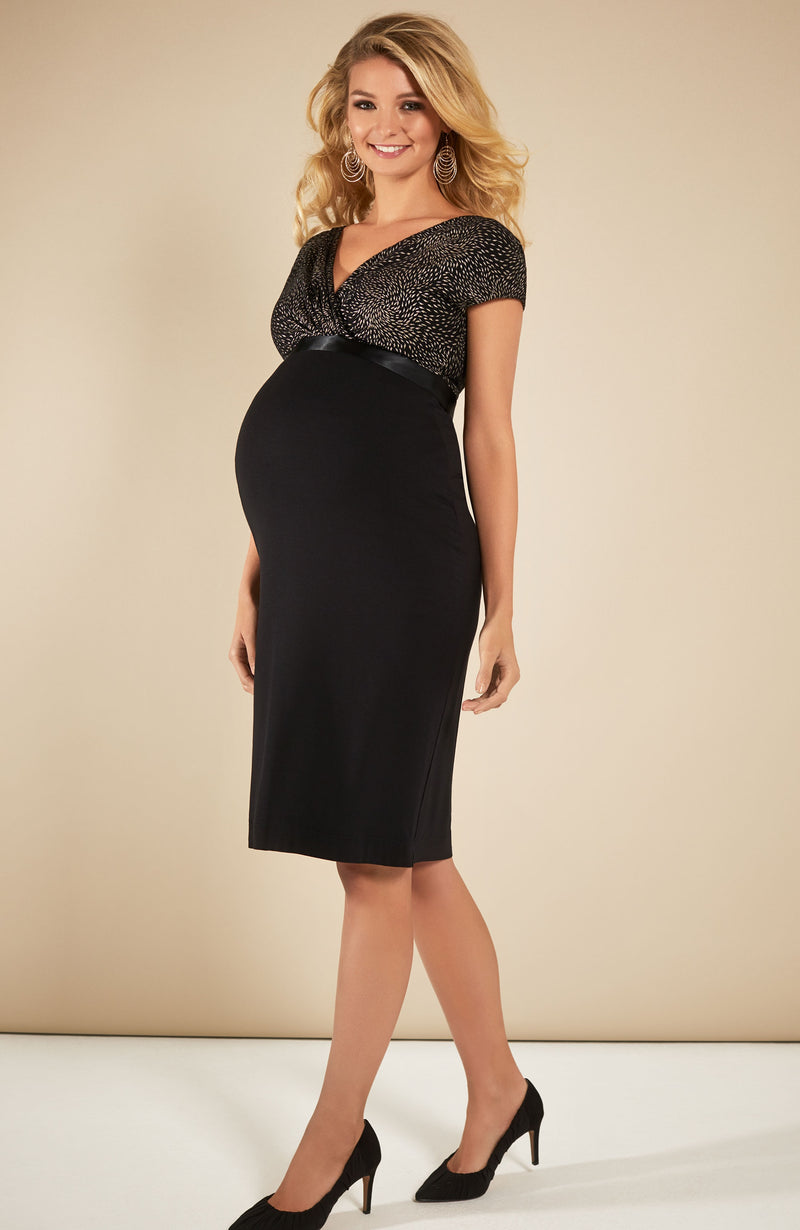 Tiffany Rose Gold Leaf Bardot Maternity & Nursing Dress - Seven Women Maternity