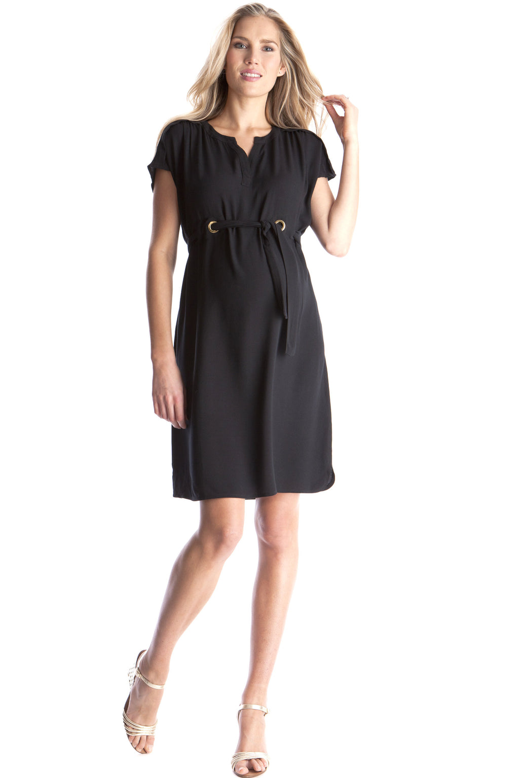 Seraphine Camden Woven Maternity Dress in Caviar - Seven Women Maternity