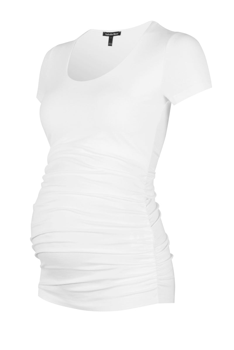 Isabella Oliver White  Scoop Cap Sleeve Maternity Top - Seven Women Maternity