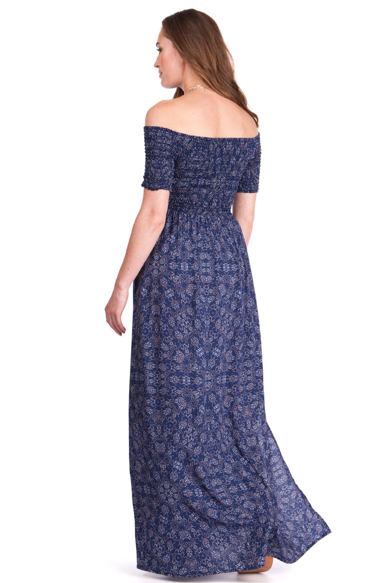 Seraphine Cara Off Shoulder Maternity Maxi Dress