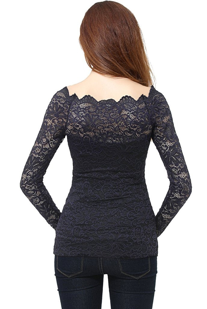 Christelle Navy Lace Maternity Off Shoulder Top - Seven Women Maternity