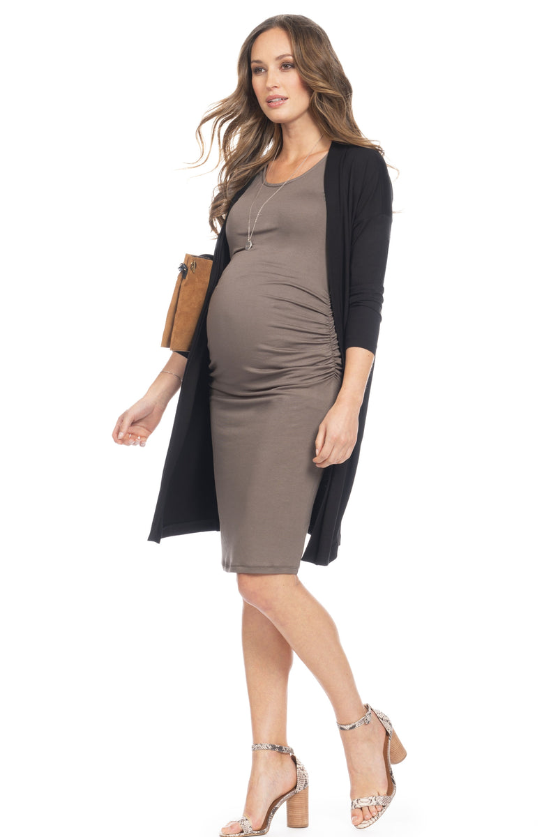 Seraphine Twin Set Clarabelle Bodycon Maternity Dress with Waterfall Cardigan