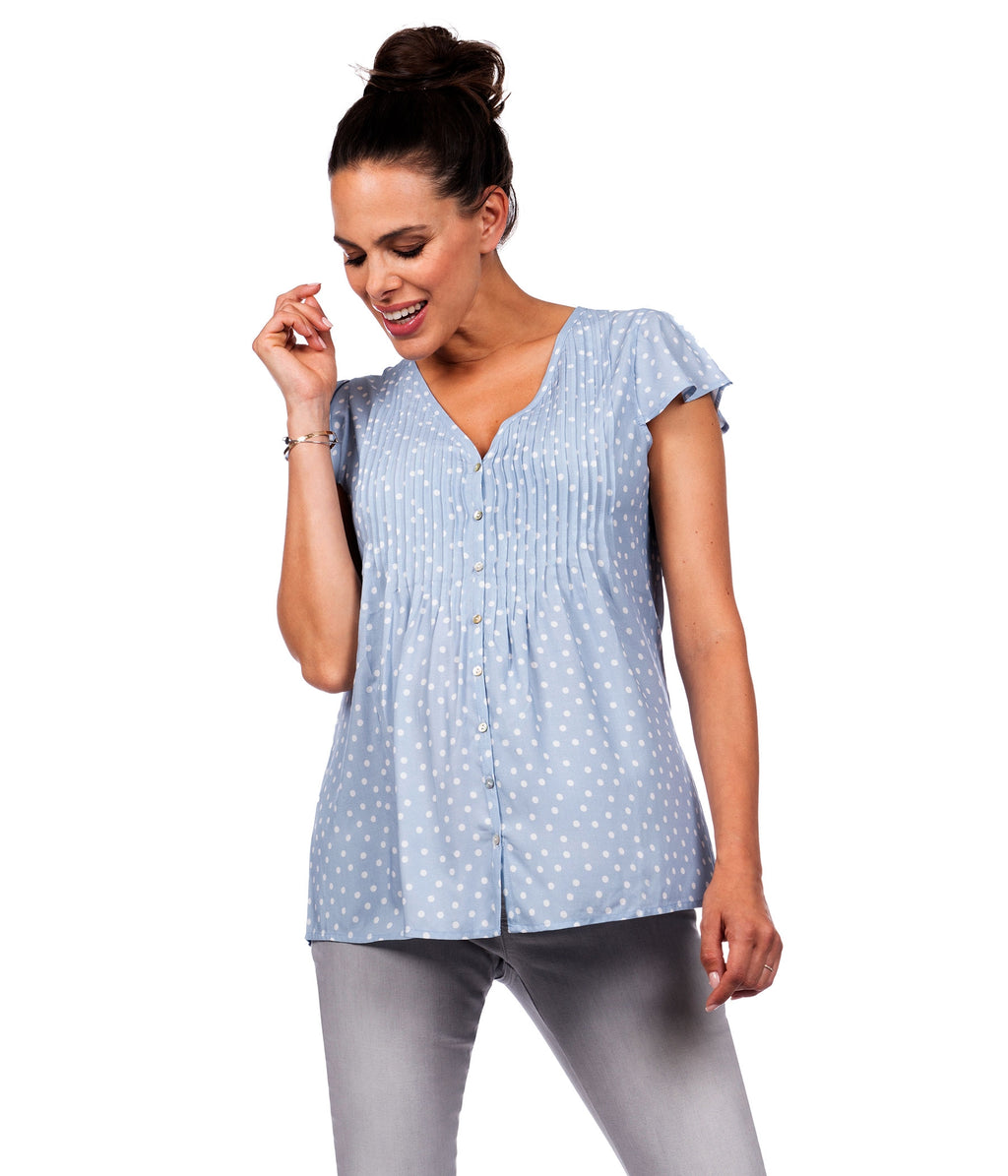 Seraphine Claudia Blue Dot Flutter Sleeve Maternity & Nursing Blouse - Seven Women Maternity