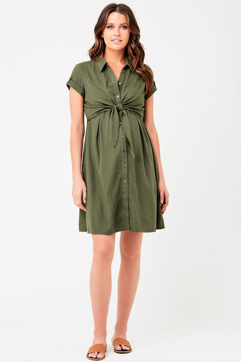 Colette Linen Maternity Nursing Dress - Seven Women Maternity