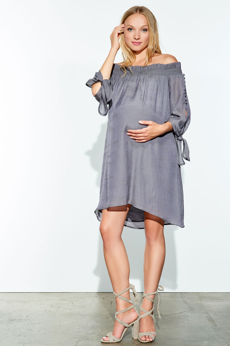 Juliet Off Shoulder Maternity Dress by Maternal America