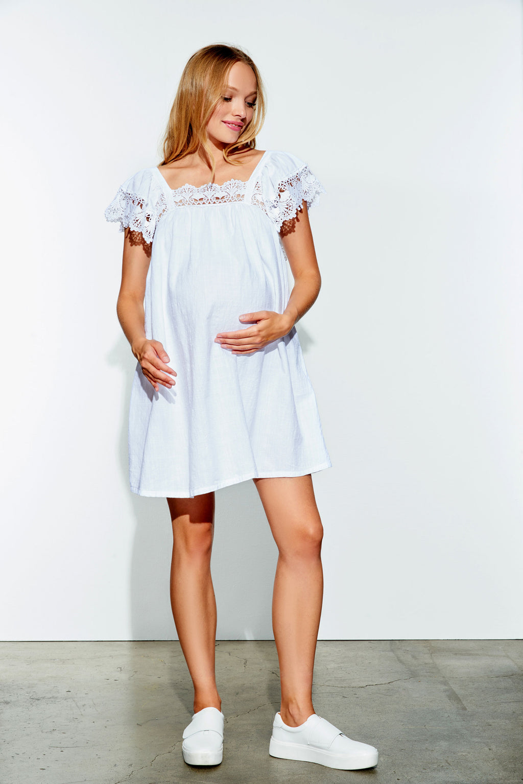 Babydoll Crochet Maternity Dress by MA - Seven Women Maternity