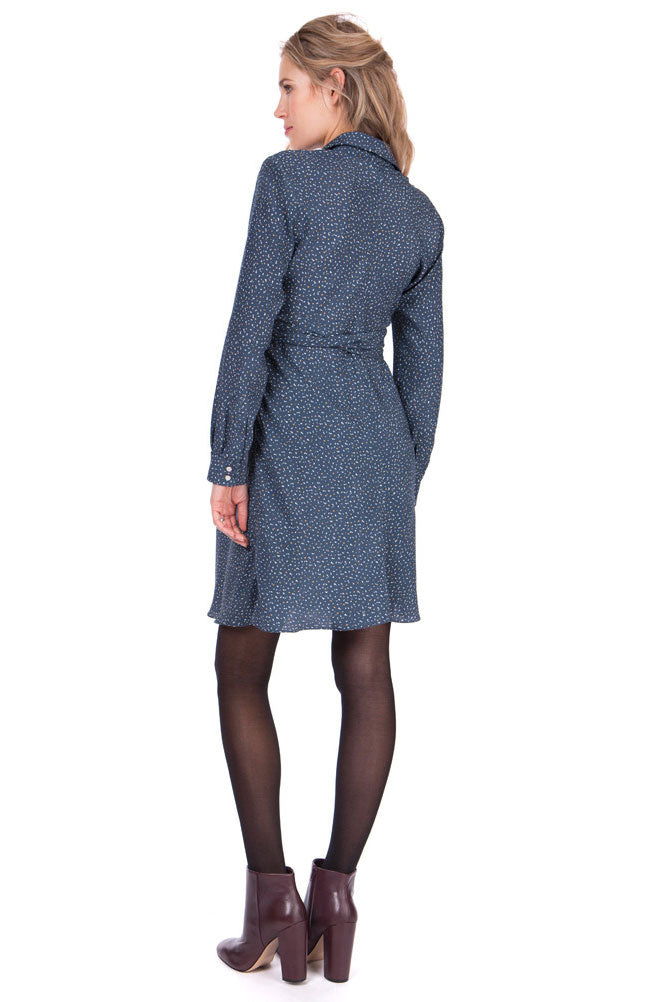 Seraphine Dominic Blue Woven Maternity Shirt Dress