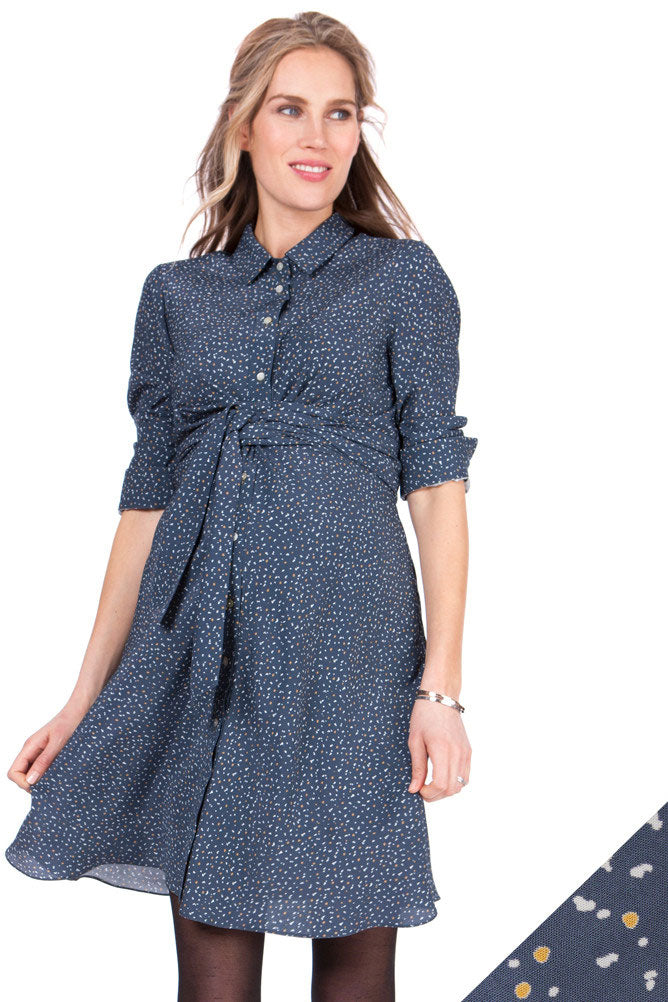 Seraphine Dominic Blue Woven Maternity Shirt Dress - Seven Women Maternity