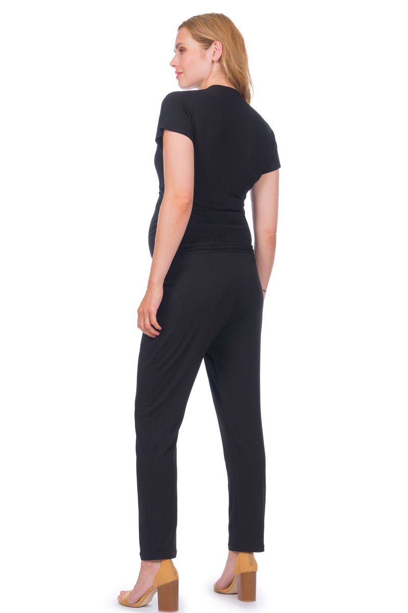 Seraphine Dove Black Maternity and Nursing Jumpsuit