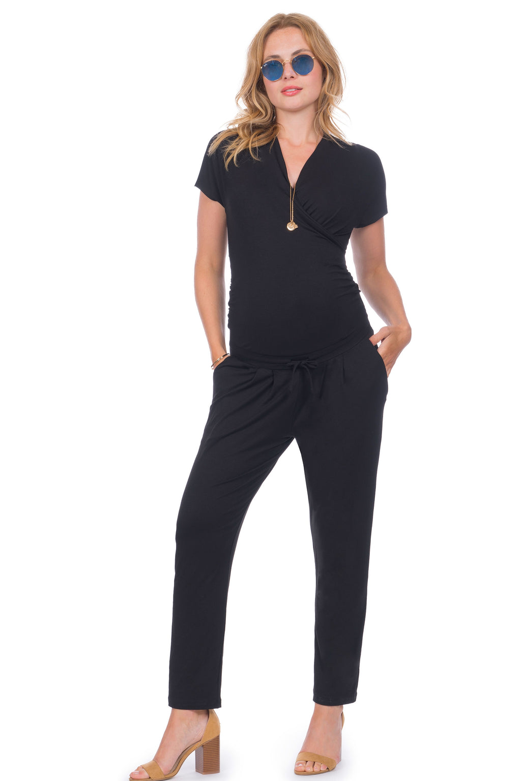 Seraphine Dove Black Maternity and Nursing Jumpsuit - Seven Women Maternity