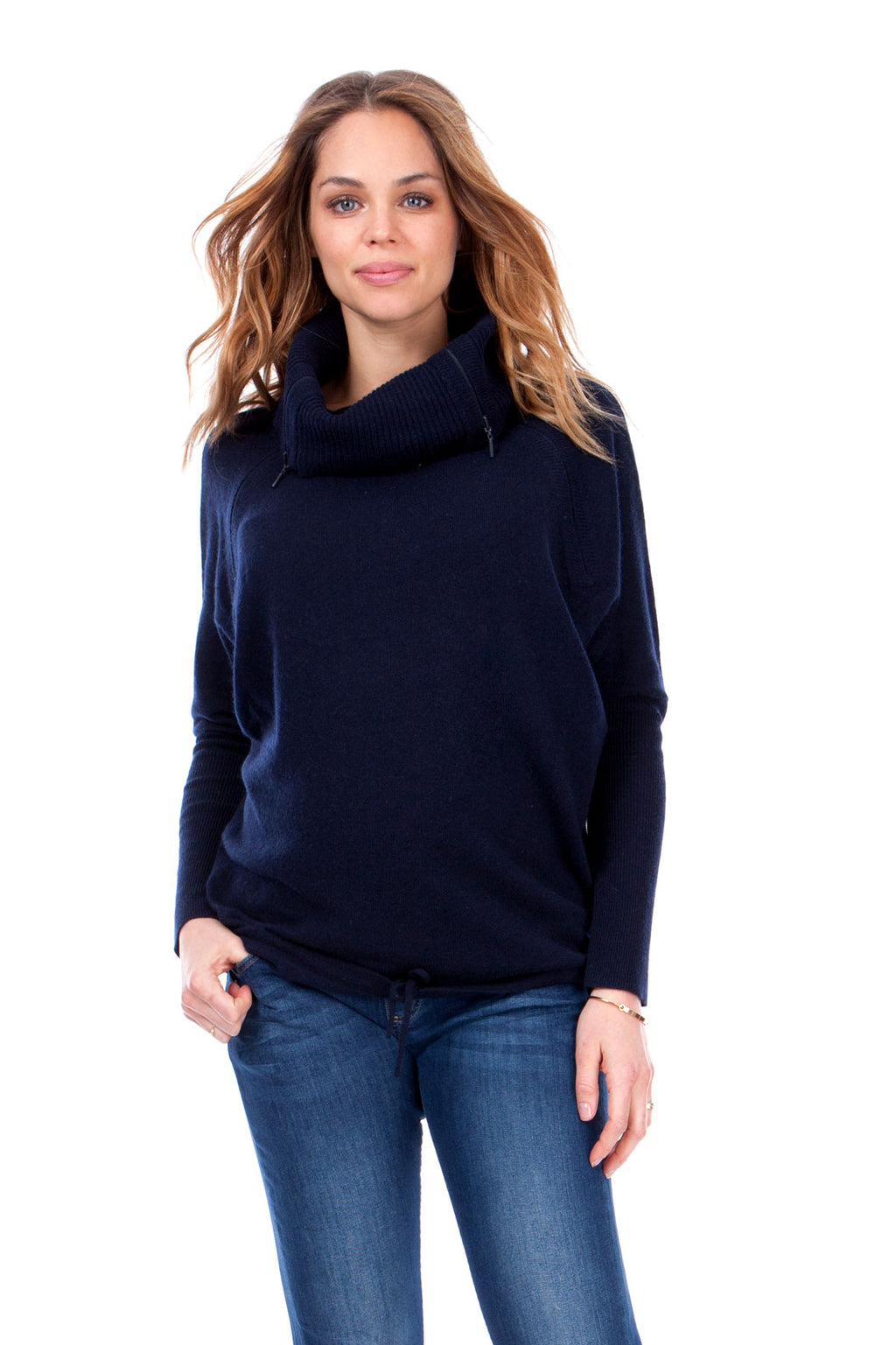 Seraphine Eda Navy Roll Neck Maternity Nursing Sweater