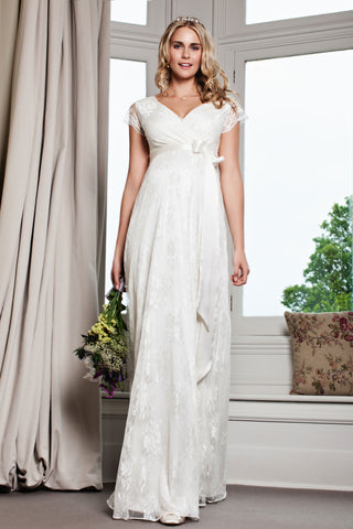 Amelia Lace Bridal Wedding Maternity Dress in Ivory