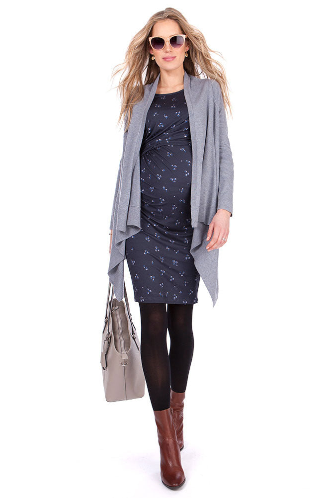 Seraphine Elsie Navy Printed Maternity & Nursing Dress - Seven Women Maternity