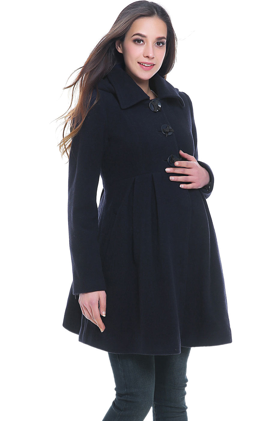 Kimi + Kia Faye Wool Blend Maternity Hooded Coat