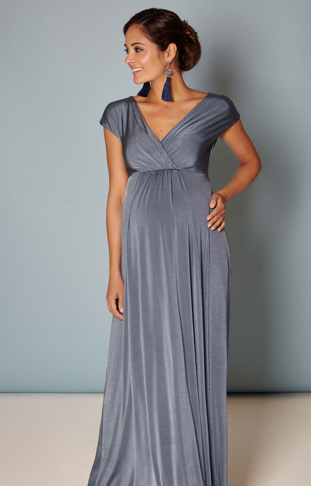 Tiffany Rose Francesca Blue Maternity and Nursing Gown - Seven Women Maternity