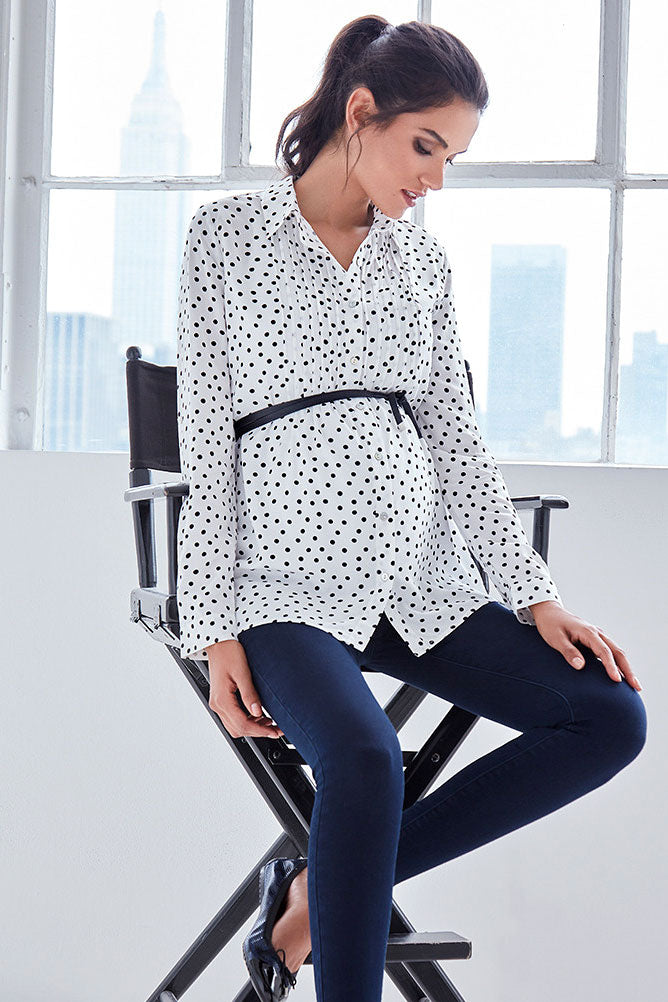 Seraphine Happy Polka Dot Button Down Maternity Blouse - Seven Women Maternity
