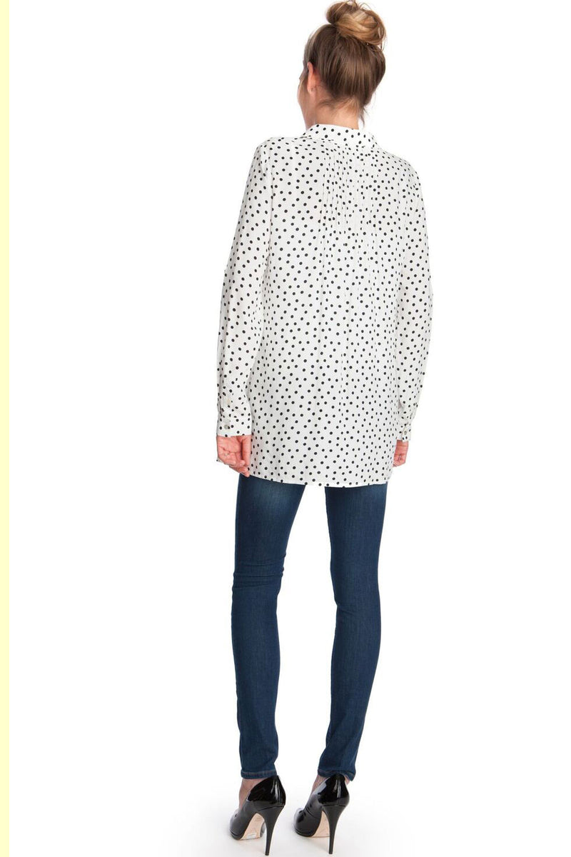 Seraphine Happy Polka Dot Button Down Maternity Blouse