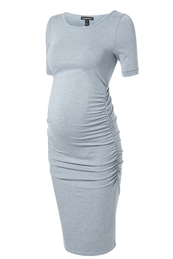 Isabella Oliver Cap Sleeve Maternity Dress in Heather Grey - Seven Women Maternity