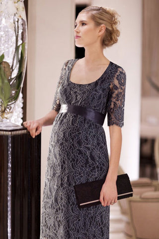 Tiffany Rose Imogen Shift Maternity Lace Dress in Dusk Blue