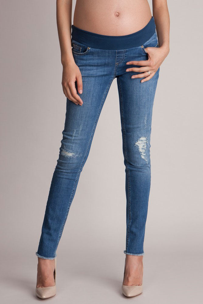 Seraphine Hunter Distressed Maternity Jeans - Seven Women Maternity