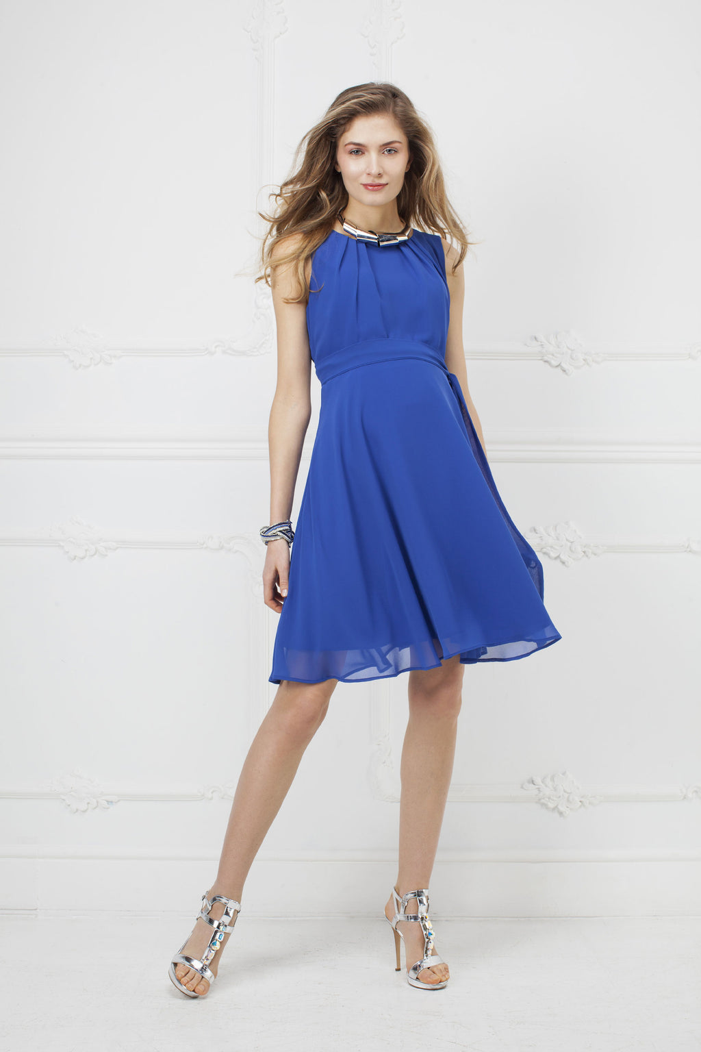 Isabella Chiffon Maternity Dress by Pietro Brunelli In Caspian Blue - Seven Women Maternity