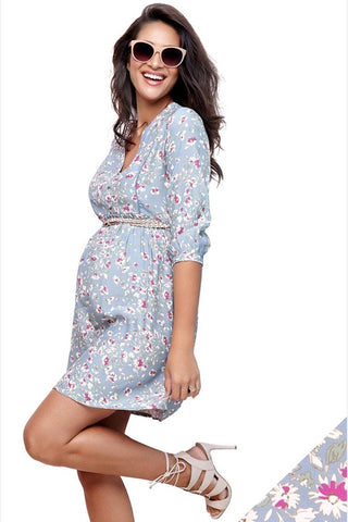 Seraphine Acacia Teal Dot Maternity & Nursing Dress