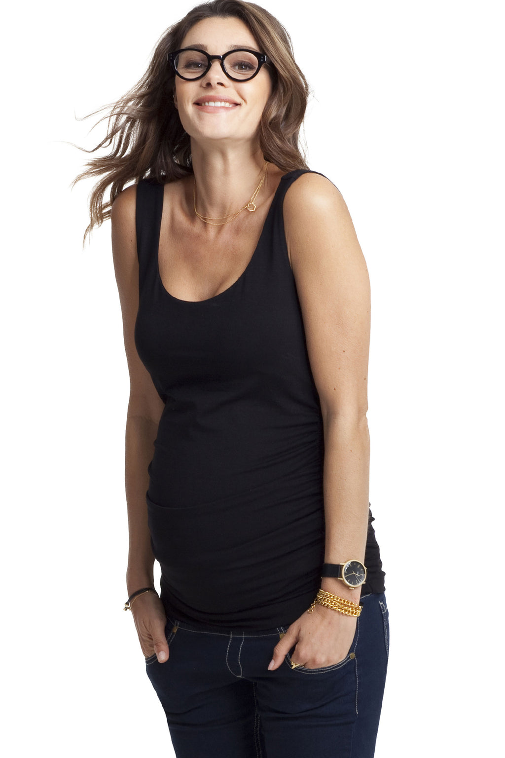 Ruched Tank in Caviar and Navy Blue