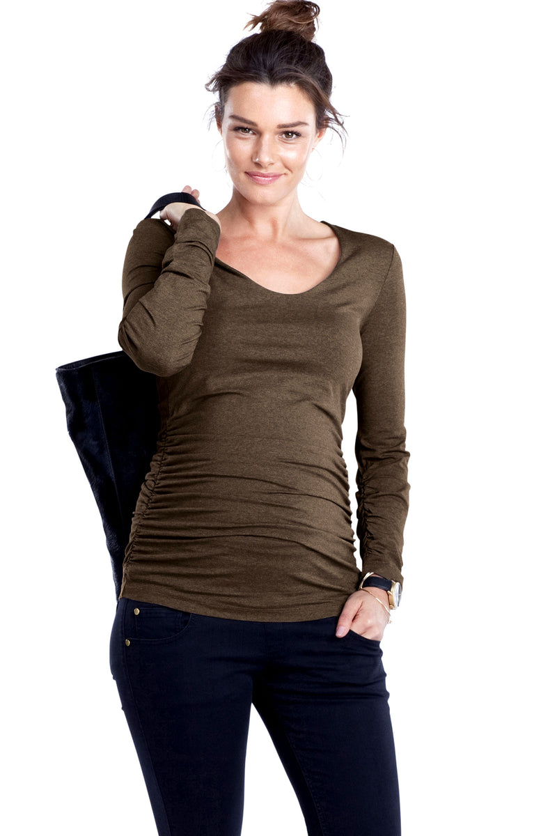 Scoop Top LS in Taupe Melange