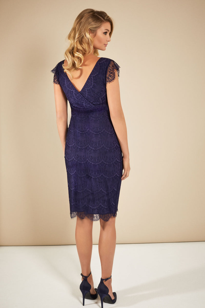Tiffany Rose Imogen Shift Maternity Lace Dress in Dusk Blue - Seven Women Maternity