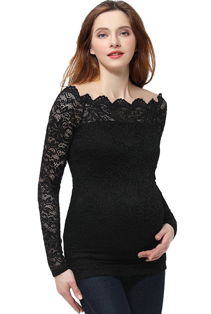 Christelle Lace Maternity Off Shoulder Top - Seven Women Maternity