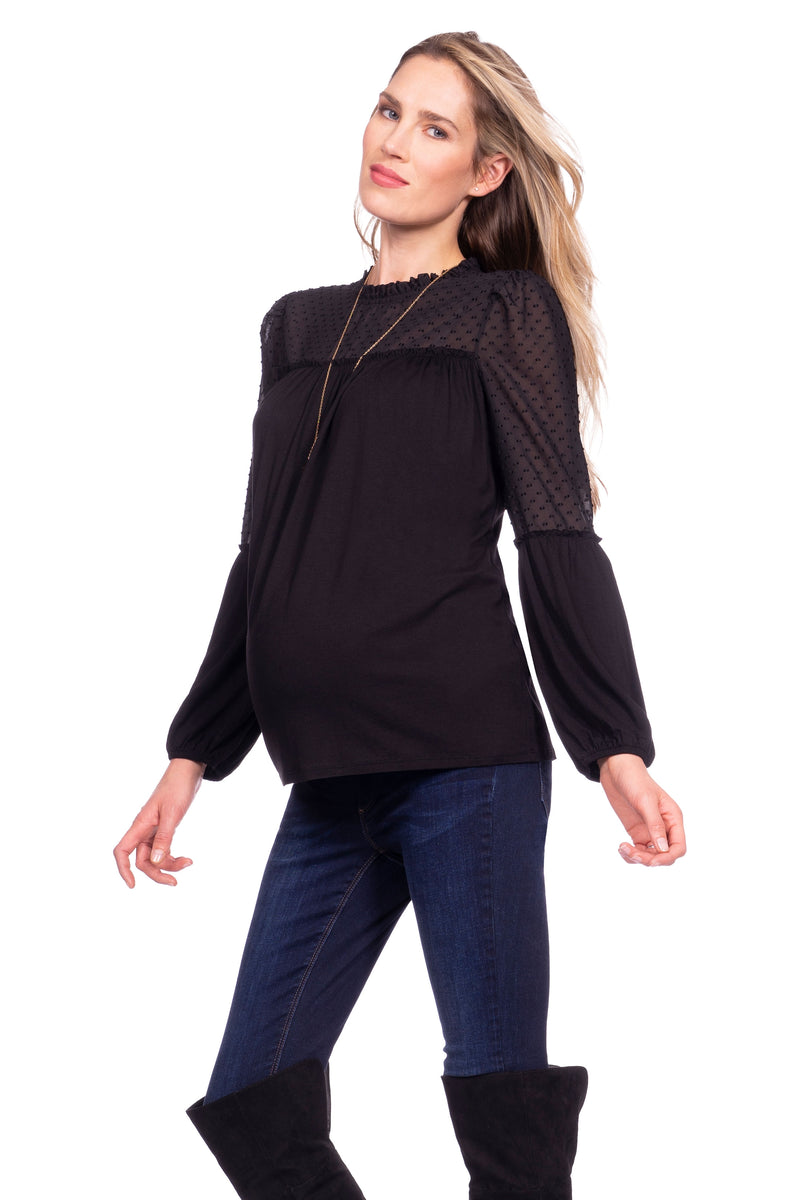 Seraphine Jessamine Semi Sheer Black Maternity Blouse - Seven Women Maternity