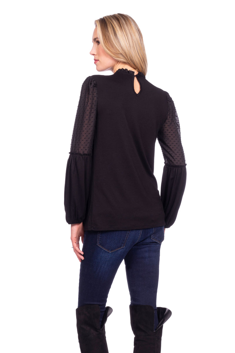 Seraphine Jessamine Semi Sheer Black Maternity Blouse