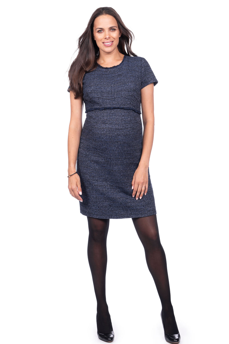 Seraphine Kiara Navy Blue Bouclé Maternity Shift Dress - Seven Women Maternity