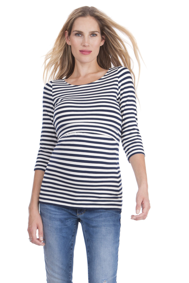 Seraphine Laina ¾ Sleeve Striped Maternity & Nursing Top - Seven Women Maternity