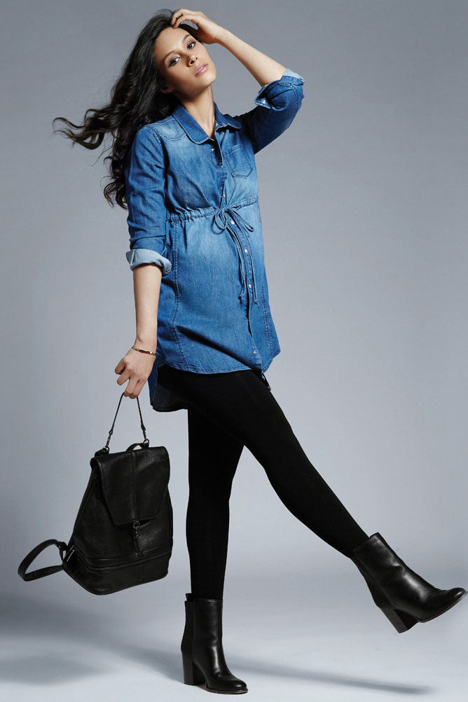 Seraphine Lara Drawstring Maternity Denim Shirt Tunic - Seven Women Maternity