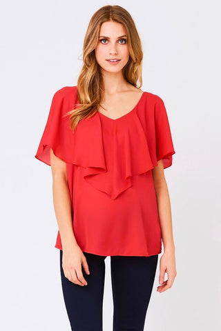 Carrie Chiffon-Like Maternity Top in Sky Blue