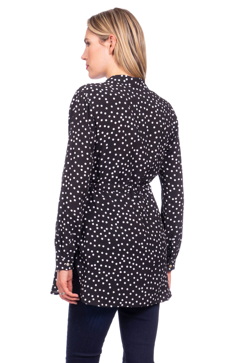 Seraphine Lucia Empire Tie Polka Dot Woven Maternity Nursing Blouse - Seven Women Maternity