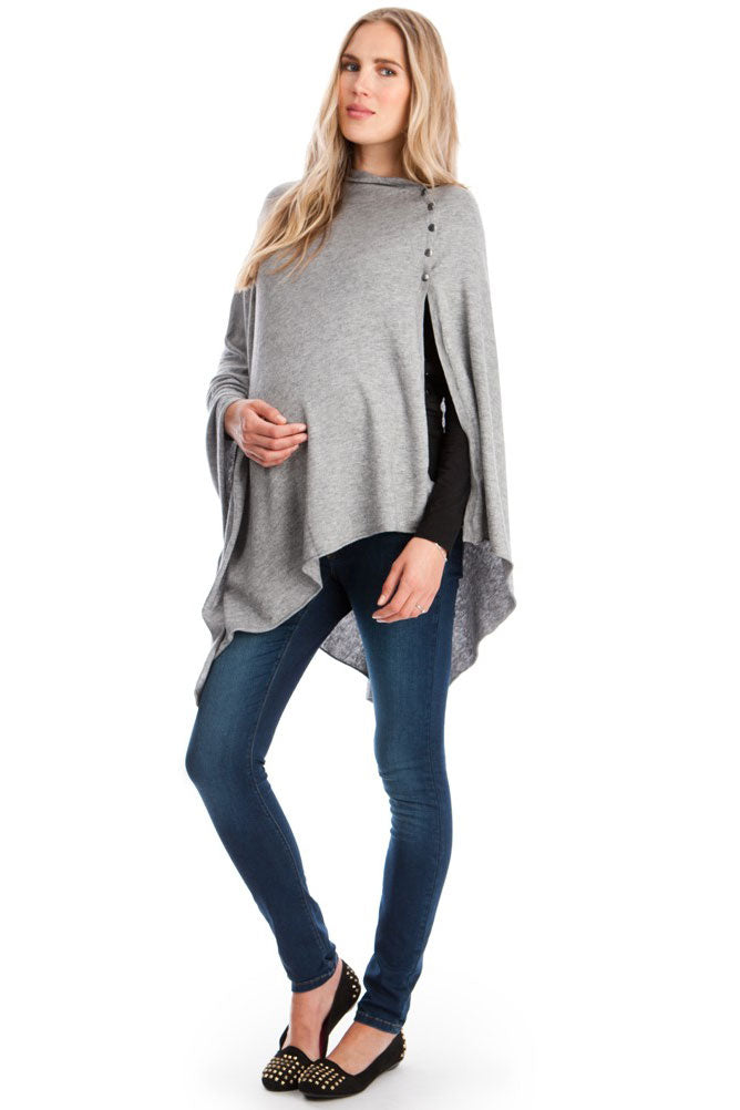 Seraphine Madison Bamboo Knit Maternity Nursing Shawl in Grey - Seven Women Maternity