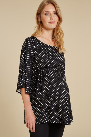 Thea Maternity Poplin Shirt in Indigo