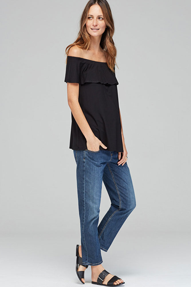 Isabella Oliver Mari Maternity Off-Shoulder Top in Caviar - Seven Women Maternity