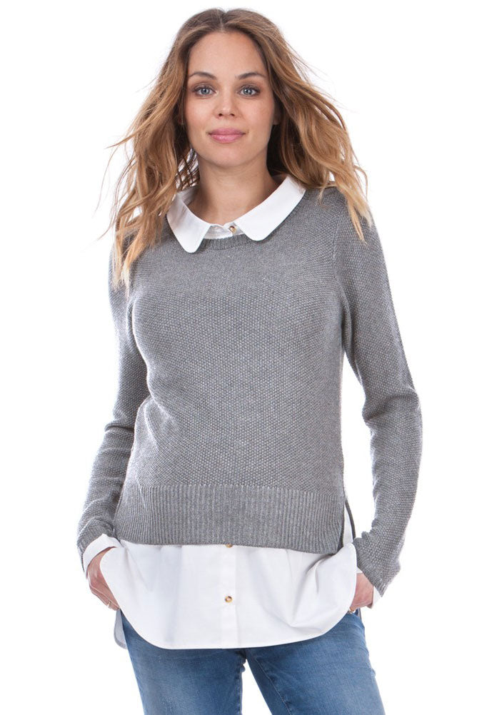 Seraphine Marianne Grey Mock Shirt Maternity & Nursing sweater - Seven Women Maternity