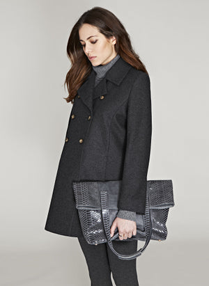 Alma Wool Coat in Caviar Black