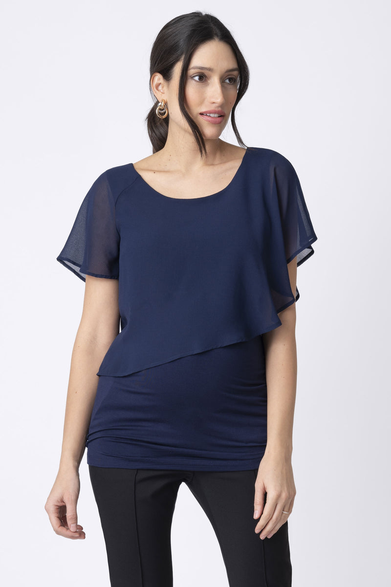 Seraphine Meredith Navy Blue Asymmetric Flutter Maternity & Nursing Top - Seven Women Maternity