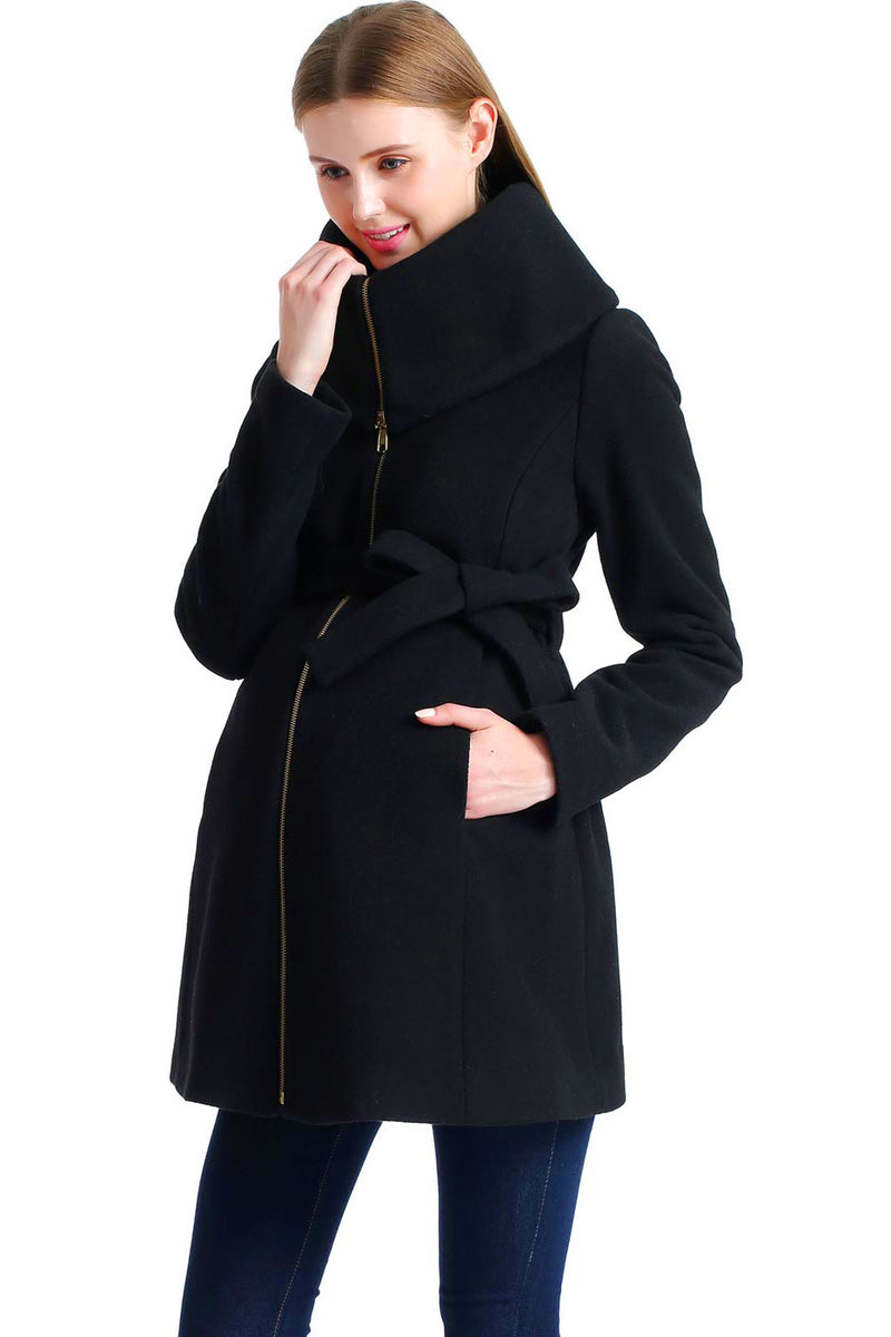 "Kimi + Kai Maternity ""Mia"" Wool Blend Fold Collar Coat - Seven Women Maternity"