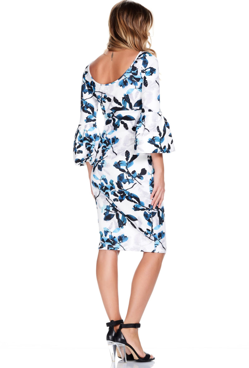 Myra Bell Sleeve Maternity Dress in Blue Leaf - Seven Women Maternity