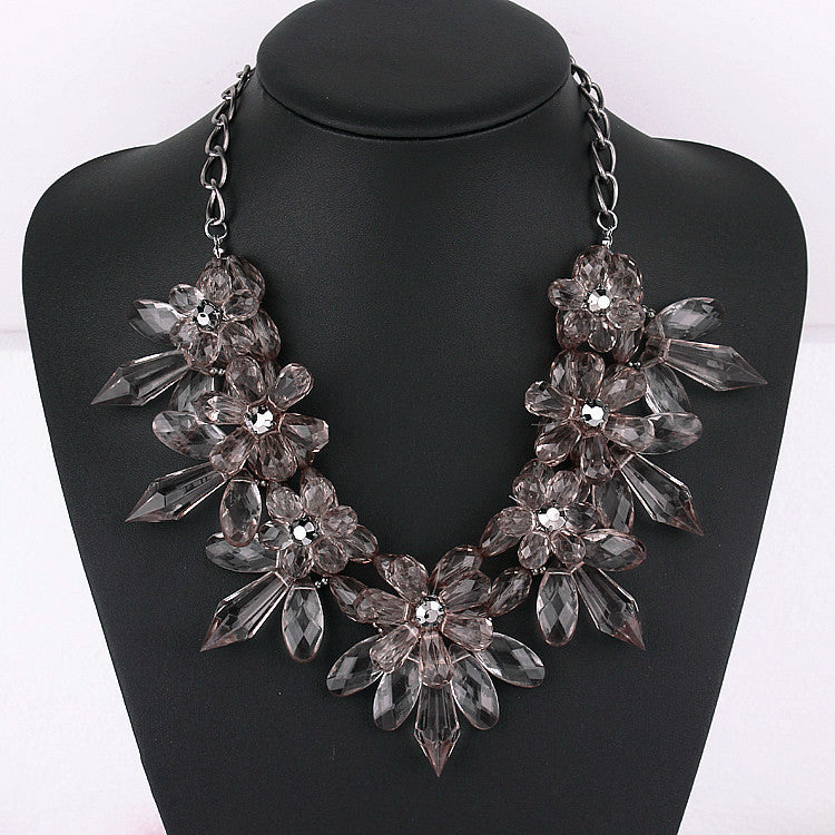 Crystal Flower Statement Necklace - Seven Women Maternity