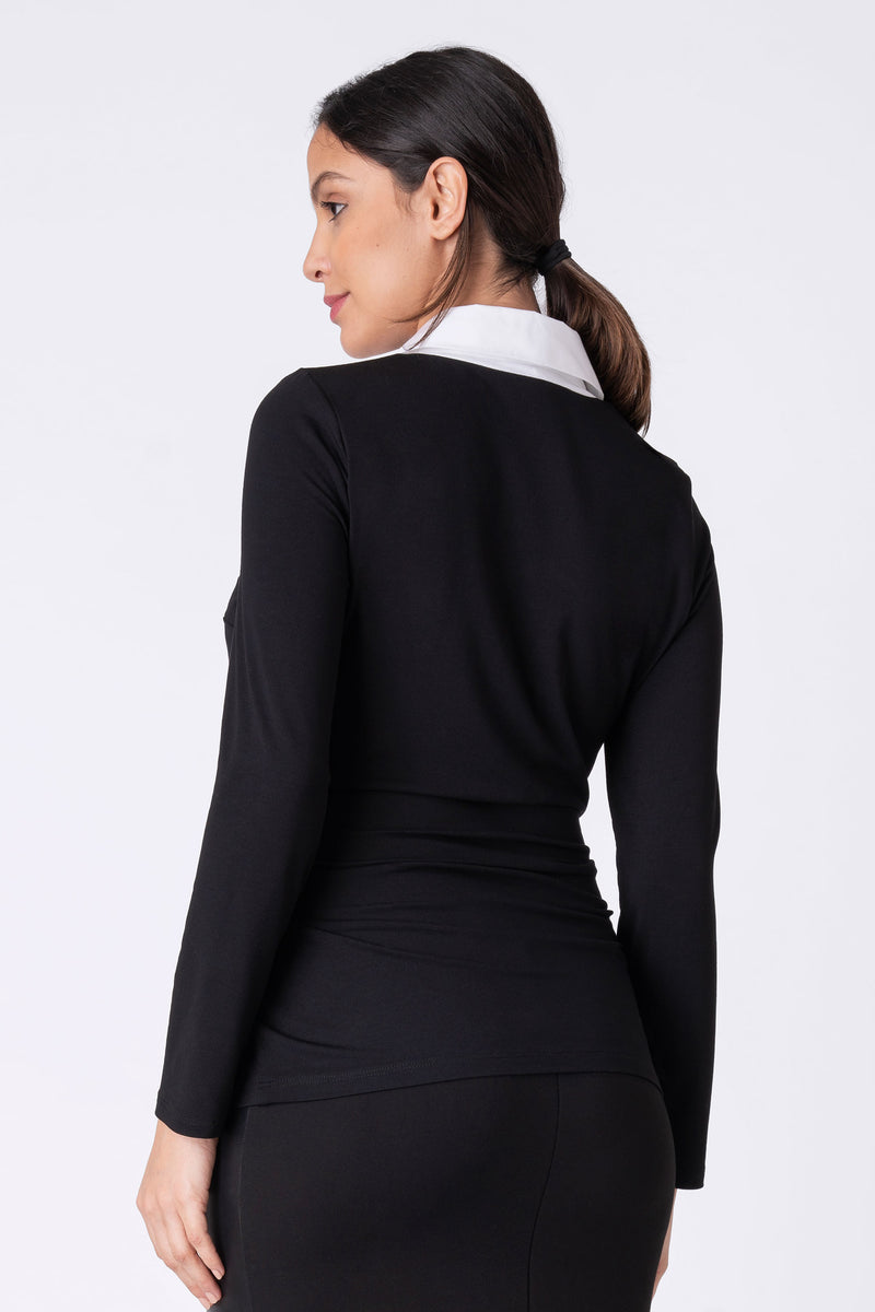 Nuria Black Maternity Top with Woven Collar