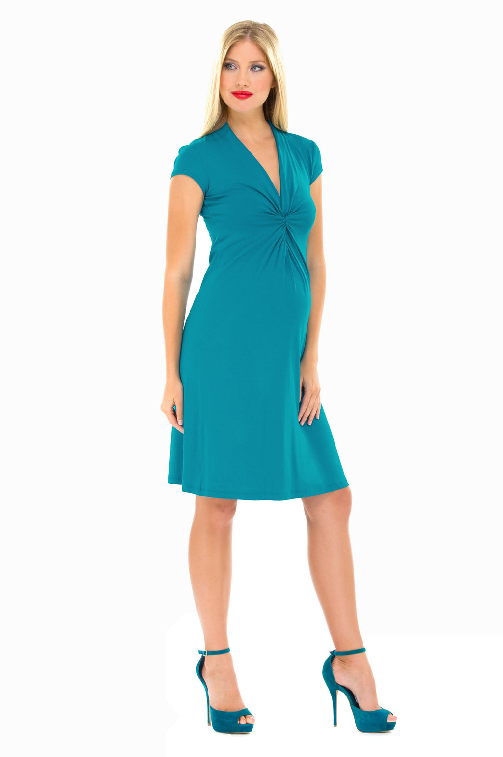 Olian Twisted V Neck, Cap Sleeve Maternity Dress - Seven Women Maternity