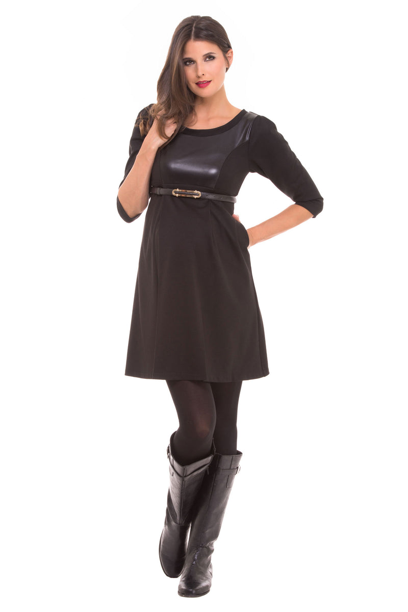 Vegan Leather Scoop Neck Maternity Dress - Seven Women Maternity