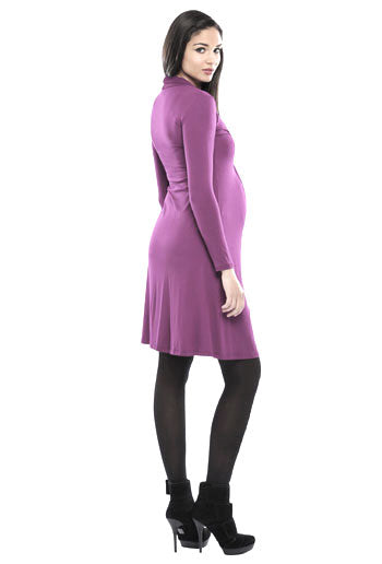 Olian Twisted V Neck Maternity Dress Black And Purple - Seven Women Maternity